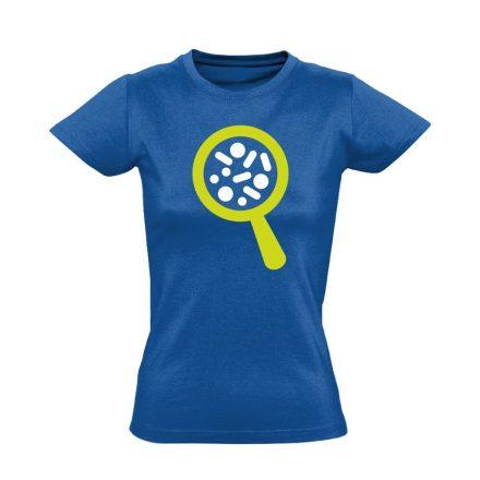 Nagyító laboros/mikrobiológiai női póló (kék)
