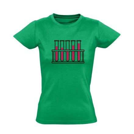 Cső kém! laboros/mikrobiológiai női póló (zöld)
