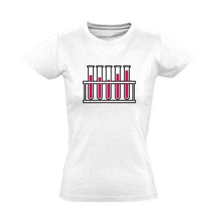 Cső kém! laboros/mikrobiológiai női póló (fehér)