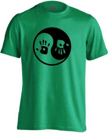 Jin Jang masszázs férfi póló (zöld)
