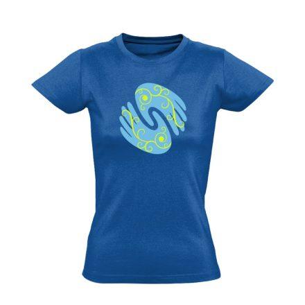 Gyógyító kezek masszázs női póló (kék)