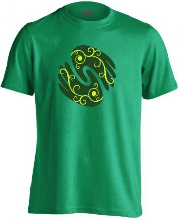 Gyógyító kezek masszázs férfi póló (zöld)