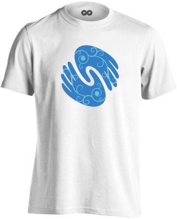 Gyógyító kezek masszázs férfi póló (fehér)