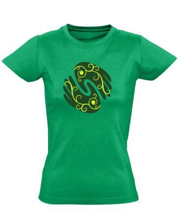 Gyógyító kezek masszázs női póló (zöld)