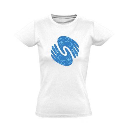 Gyógyító kezek masszázs női póló (fehér)