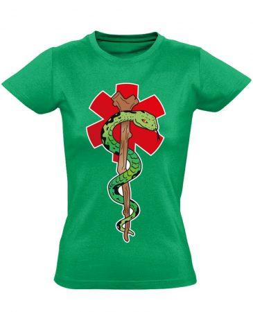 Kígyós női mentős póló (zöld)