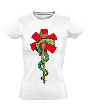 Kígyós női mentős póló (fehér)