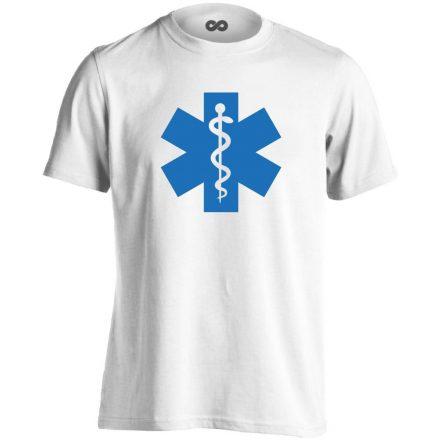 Szimbólum mentős férfi póló (fehér)