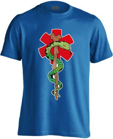 Kígyós mentős férfi póló (kék)