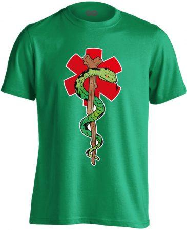 Kígyós mentős férfi póló (zöld)