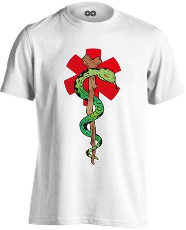 Kígyós mentős férfi póló (fehér)