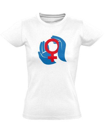 A Nők Védelmezői nőgyógyászati női póló (fehér)