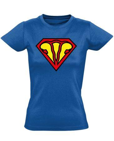SuperUterus nőgyógyászati női póló (kék)