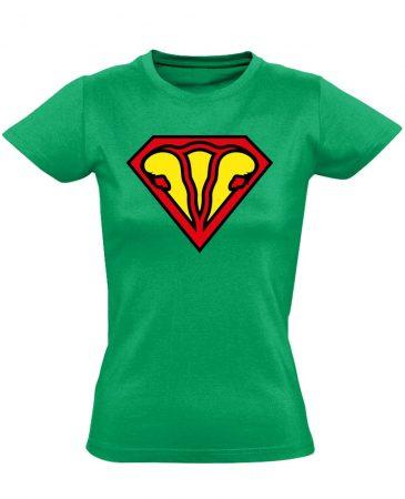 SuperUterus nőgyógyászati női póló (zöld)