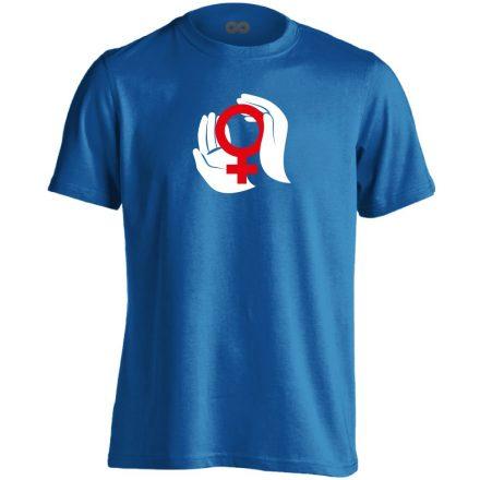 A Nők Védelmezői nőgyógyászati férfi póló (kék)