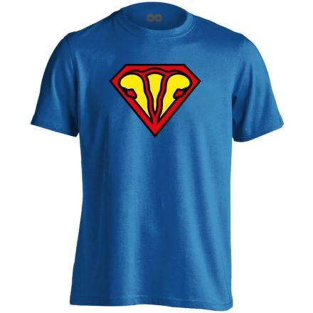 SuperUterus nőgyógyászati férfi póló (kék)