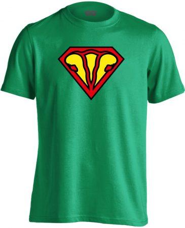 SuperUterus nőgyógyászati férfi póló (zöld)