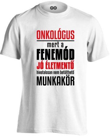 Életmentő onkológiai férfi póló (fehér)