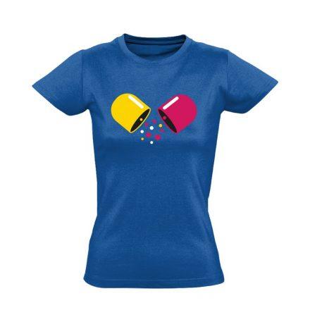 Kapszula gyógyszerész/patikus női póló (kék)