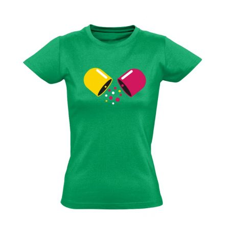 Kapszula gyógyszerész/patikus női póló (zöld)
