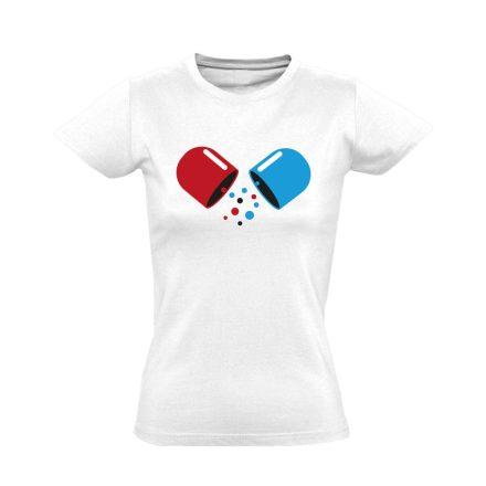 Kapszula gyógyszerész/patikus női póló (fehér)