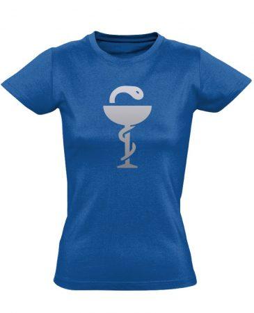 Anguis gyógyszerész/patikus női póló (kék)