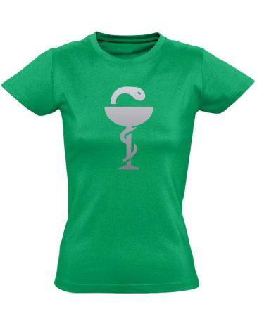 Anguis gyógyszerész/patikus női póló (zöld)