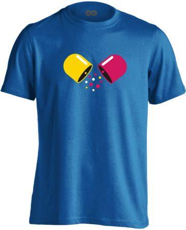 Kapszula gyógyszerész/patikus férfi póló (kék)