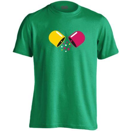 Kapszula gyógyszerész/patikus férfi póló (zöld)