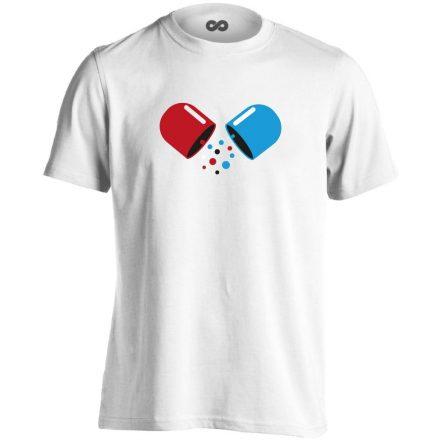 Kapszula gyógyszerész/patikus férfi póló (fehér)