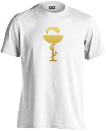 Anguis gyógyszerész/patikus férfi póló (fehér)