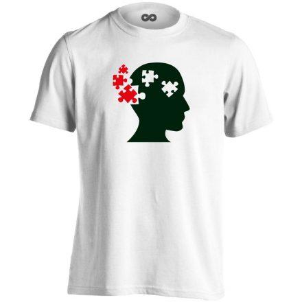 ElmePuzzle pszichiátriai férfi póló (fehér)