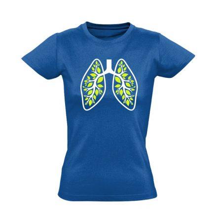 A Légzés Természete pulmonológiai női póló (kék)