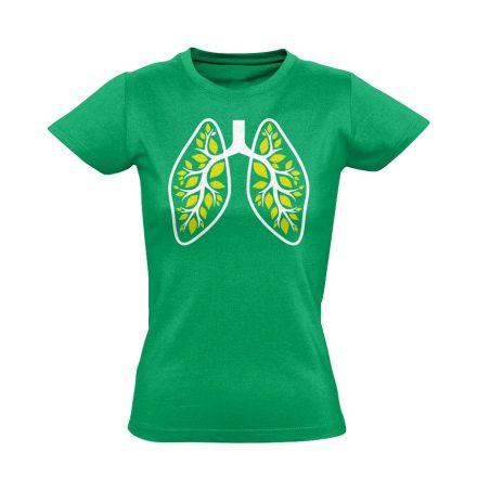 A Légzés Természete pulmonológiai női póló (zöld)