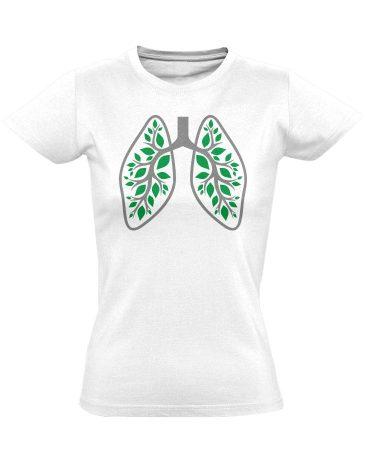 A Légzés Természete pulmonológiai női póló (fehér)
