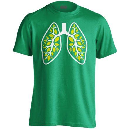 A Légzés Természete pulmonológiai férfi póló (zöld)