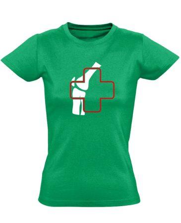 Ízület-Ügyelet reumatológiai női póló (zöld)