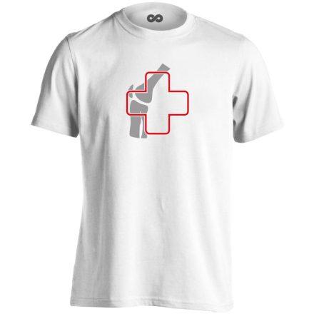 Ízület-Ügyelet reumatológiai férfi póló (fehér)