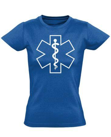 Aszklépiosz sürgősségi női póló (kék)