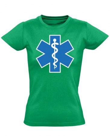 Aszklépiosz sürgősségi női póló (zöld)