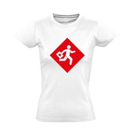 Rohanás sürgősségi női póló (fehér)