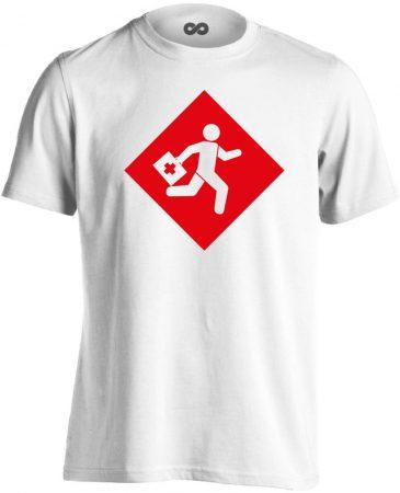 Rohanás sürgősségi férfi póló (fehér)