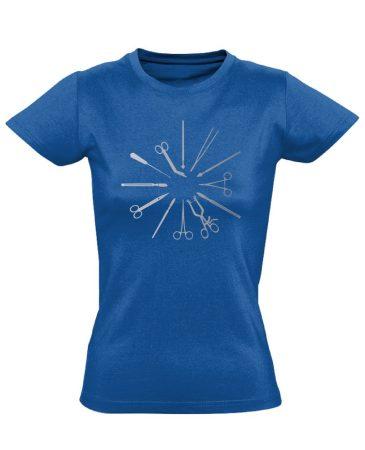 Kés-Villa-Olló sebészeti női póló (kék)