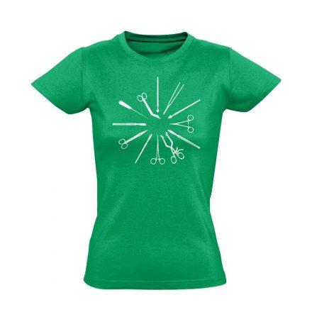 Kés-Villa-Olló sebészeti női póló (zöld)