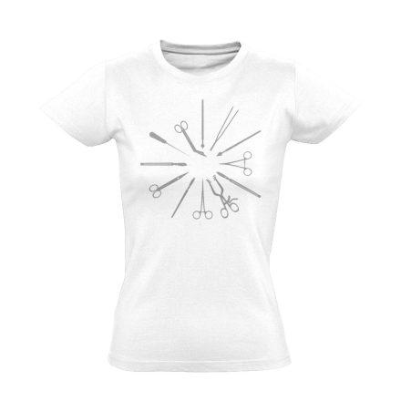 Kés-Villa-Olló sebészeti női póló (fehér)