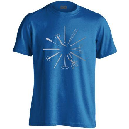 Kés-Villa-Olló sebészeti férfi póló (kék)