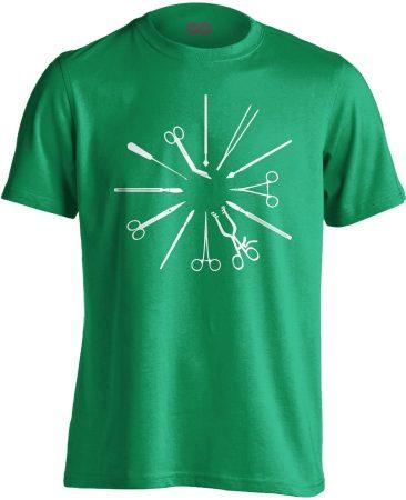 Kés-Villa-Olló sebészeti férfi póló (zöld)