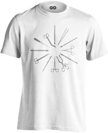 Kés-Villa-Olló sebészeti férfi póló (fehér)