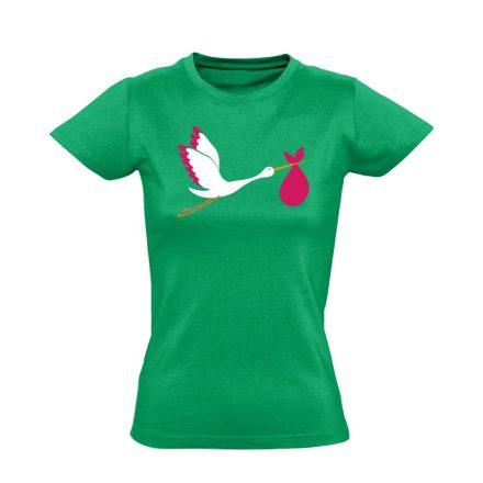 GólyaHozza szülészeti női póló (zöld)