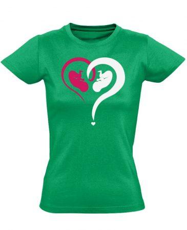 Fiú vagy Lány? szülészeti női póló (zöld)